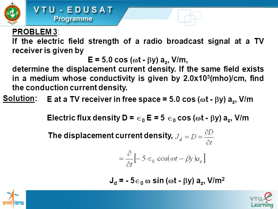 PROBLEM 3: If the electric field strength of a radio broadcast signal at a TV receiver is given by.