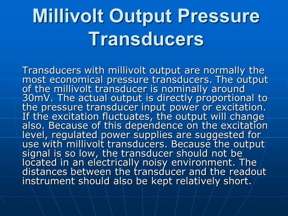 Millivolt Output Pressure Transducers