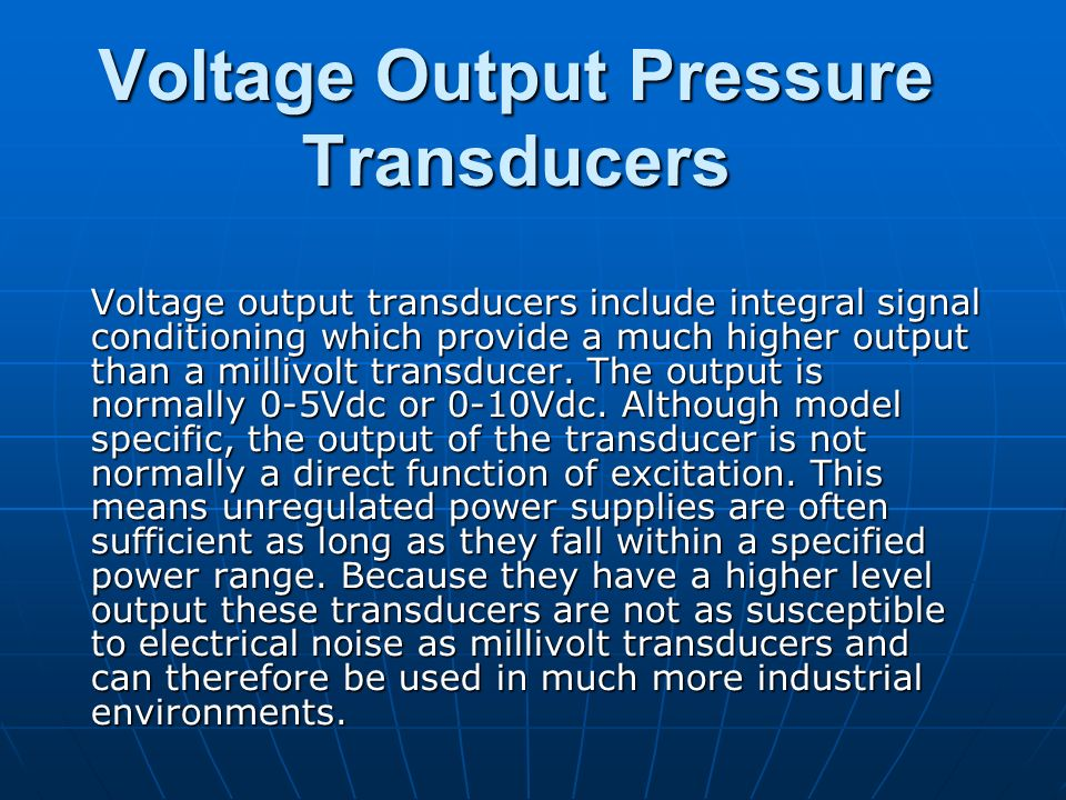 Voltage Output Pressure Transducers