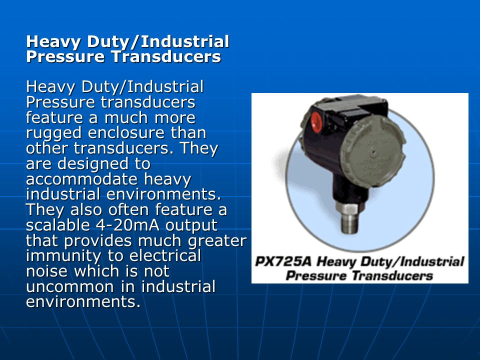 Heavy Duty/Industrial Pressure Transducers