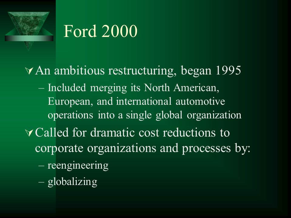 Ford 2000 An ambitious restructuring, began 1995
