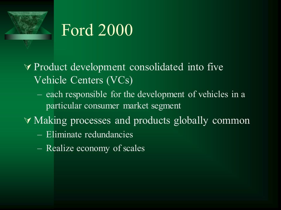 Ford 2000 Product development consolidated into five Vehicle Centers (VCs)
