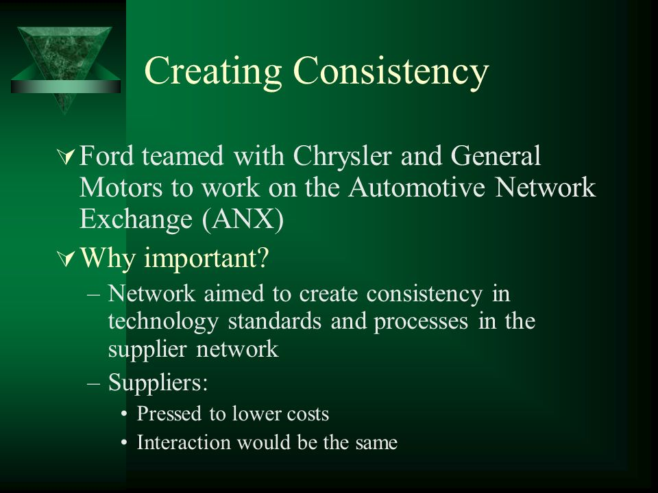Creating Consistency Ford teamed with Chrysler and General Motors to work on the Automotive Network Exchange (ANX)