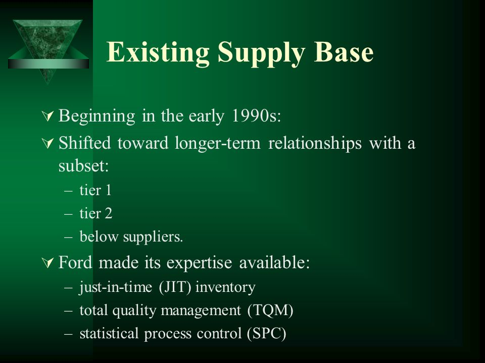 Existing Supply Base Beginning in the early 1990s: