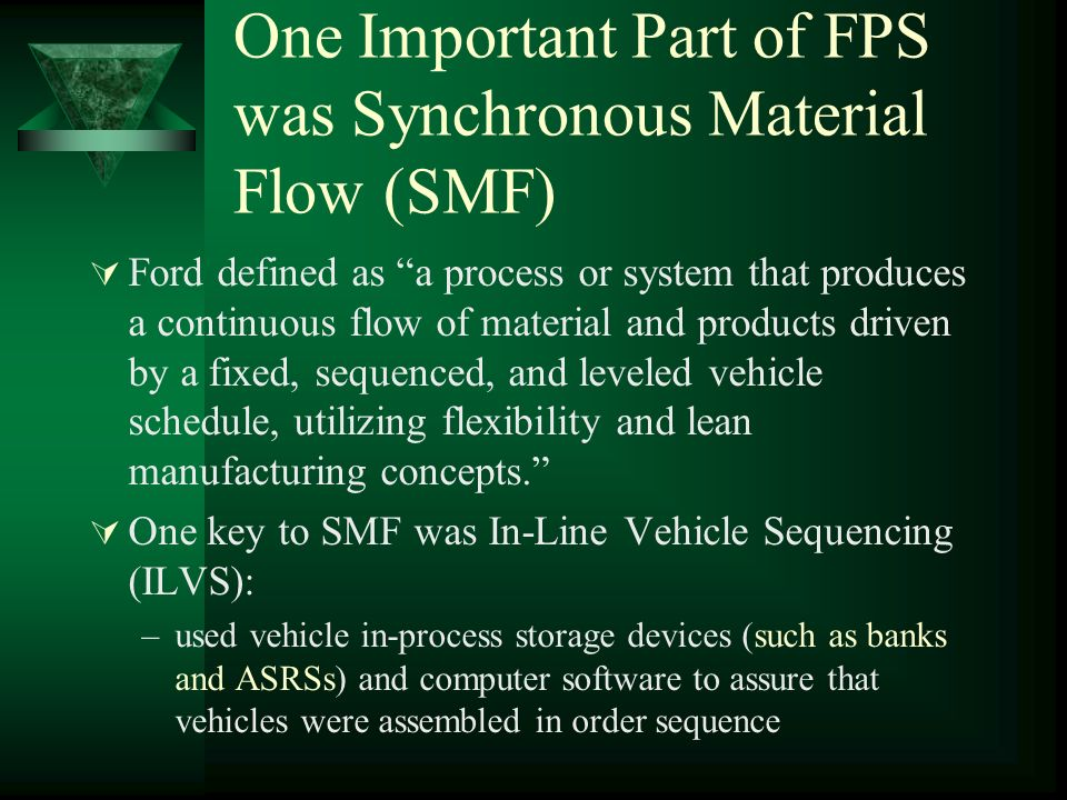 One Important Part of FPS was Synchronous Material Flow (SMF)