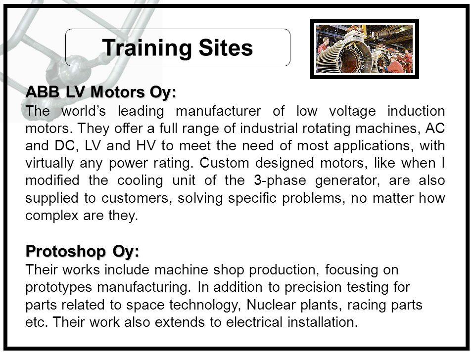 Training Sites ABB LV Motors Oy: Protoshop Oy: