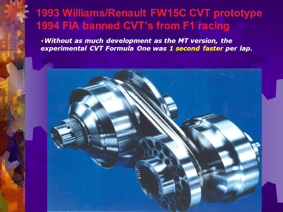 1993 Williams/Renault FW15C CVT prototype 1994 FIA banned CVT's from F1 racing