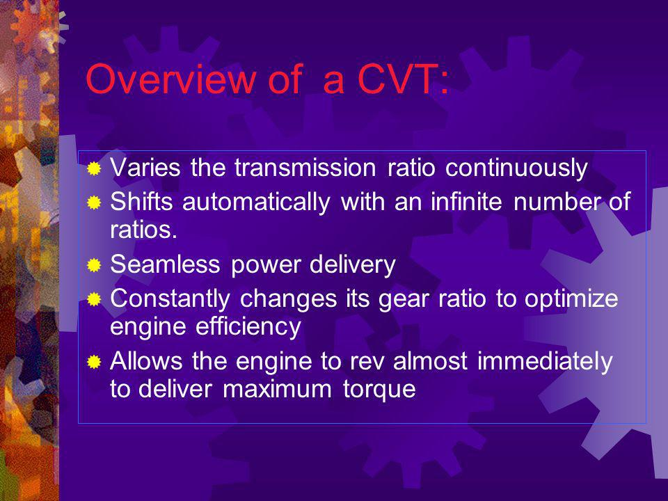 Overview of a CVT: Varies the transmission ratio continuously
