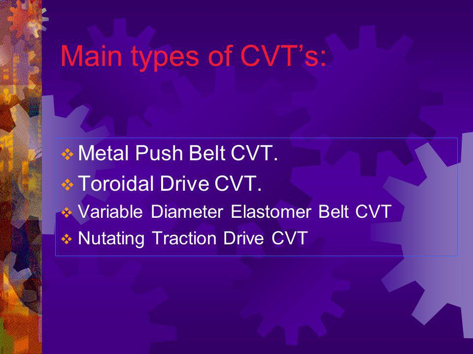 Main types of CVT's: Metal Push Belt CVT. Toroidal Drive CVT.