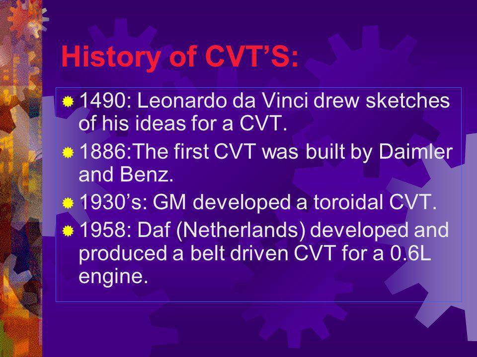 History of CVT'S: 1490: Leonardo da Vinci drew sketches of his ideas for a CVT. 1886:The first CVT was built by Daimler and Benz.