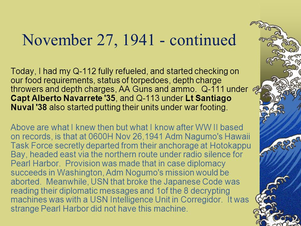 November 27, 1941 - continued