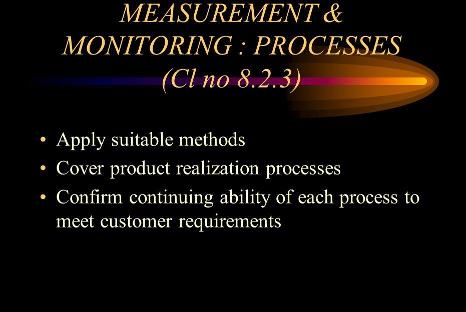 MEASUREMENT & MONITORING : PROCESSES (Cl no 8.2.3)