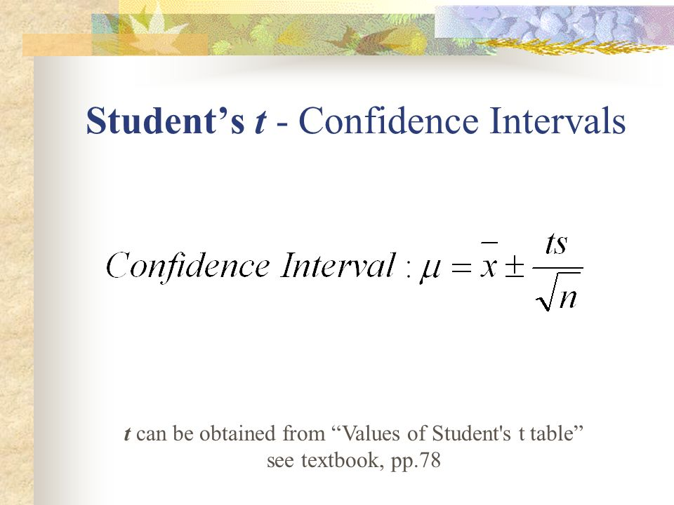 University of san francisco chemistry 260 analytical for T table for 99 confidence interval