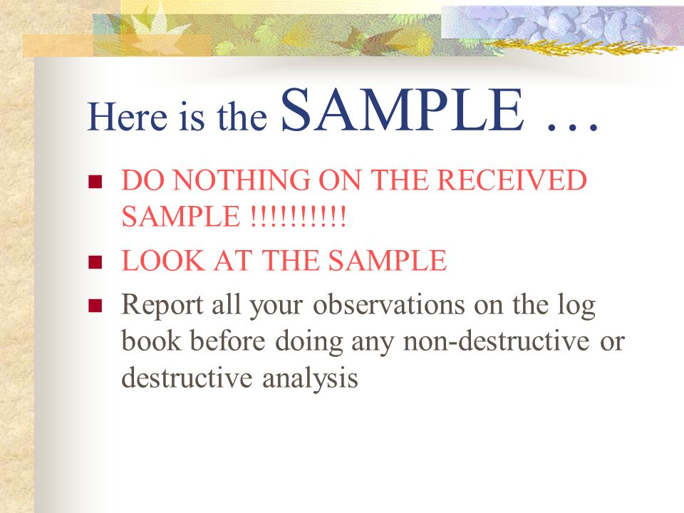 Here is the SAMPLE … DO NOTHING ON THE RECEIVED SAMPLE !!!!!!!!!!