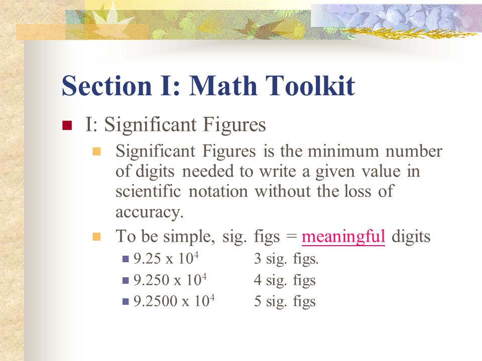 Section I: Math Toolkit
