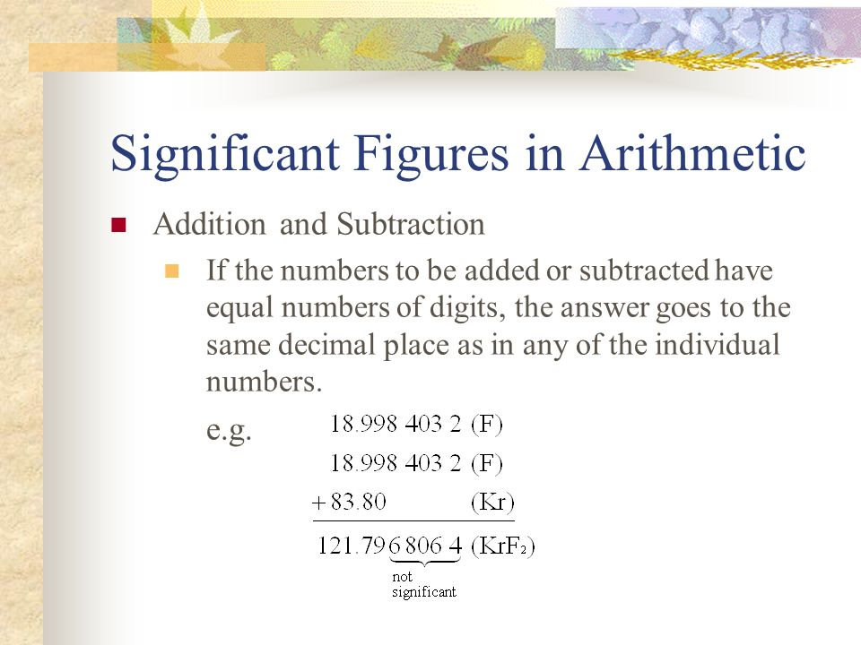 Significant Figures in Arithmetic