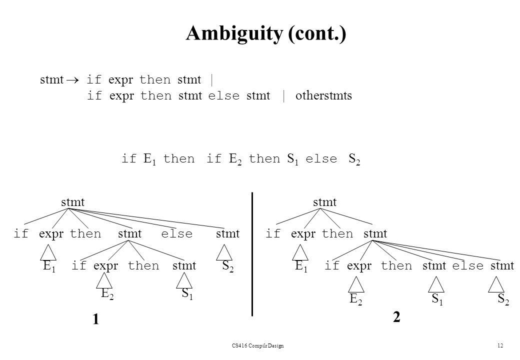 Ambiguity (cont.) stmt stmt 1 2 stmt  if expr then stmt  