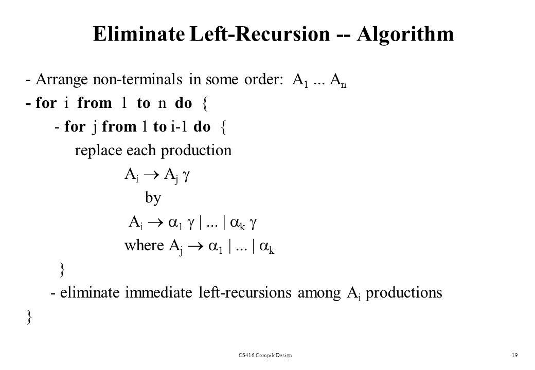 Eliminate Left-Recursion -- Algorithm