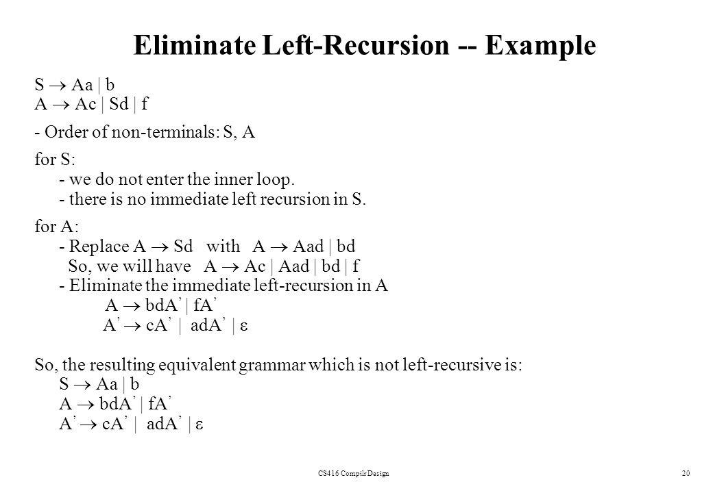 Eliminate Left-Recursion -- Example