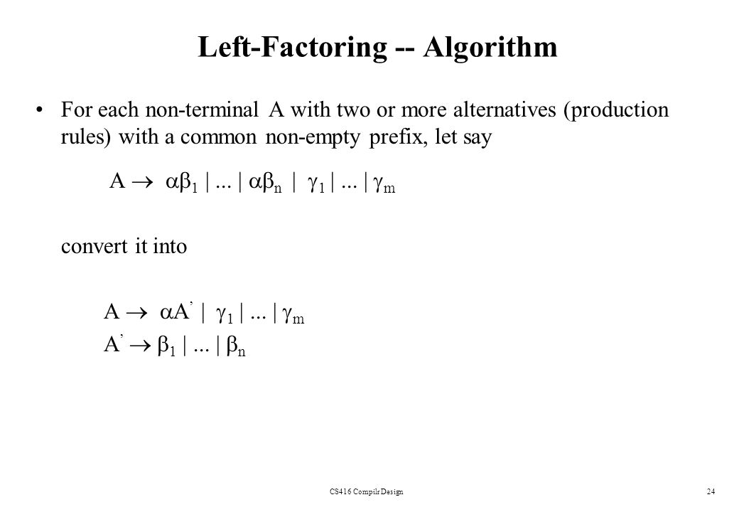 Left-Factoring -- Algorithm