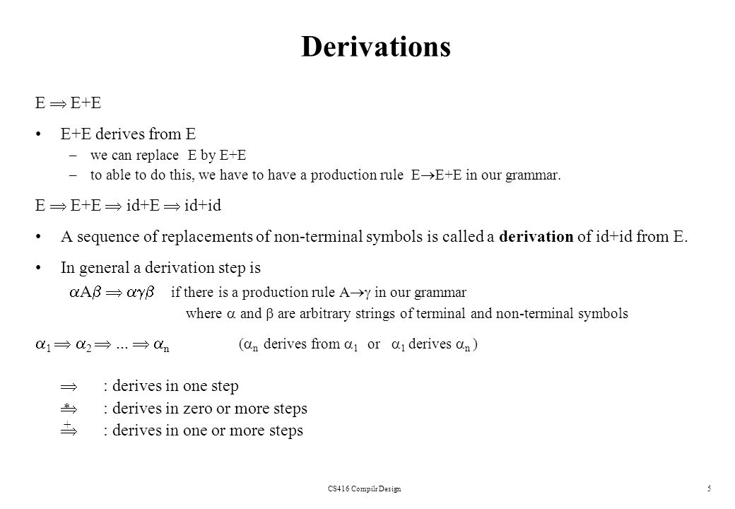 Derivations E  E+E E+E derives from E E  E+E  id+E  id+id