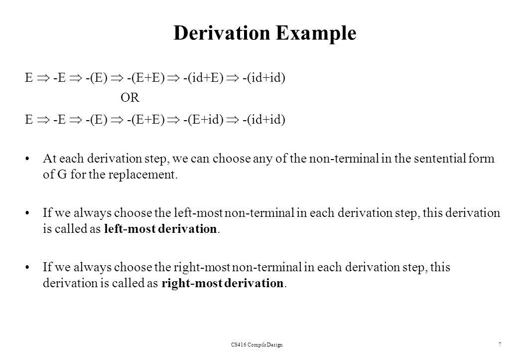 Derivation Example E  -E  -(E)  -(E+E)  -(id+E)  -(id+id) OR