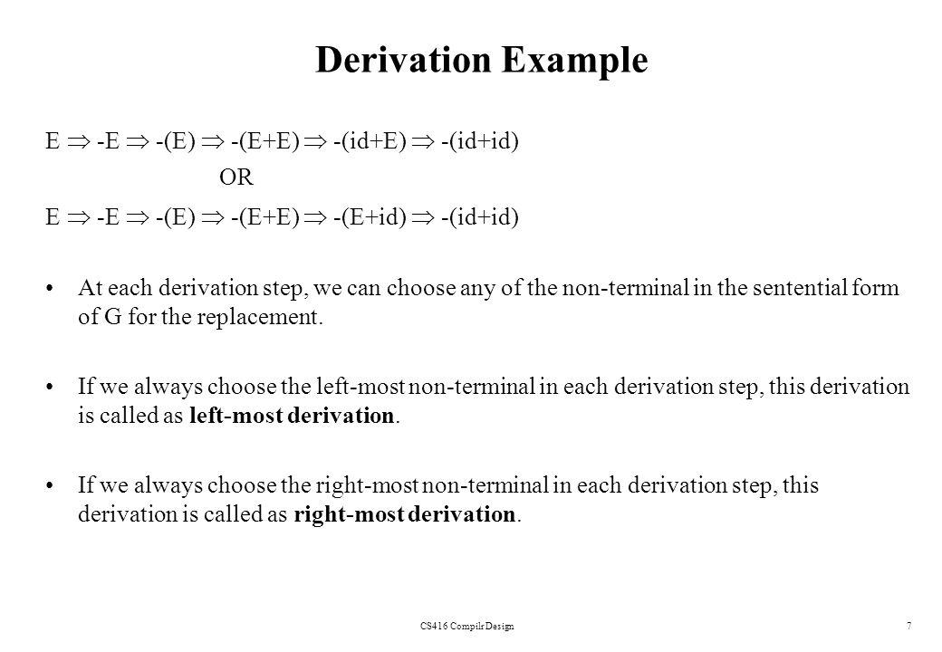 Derivation Example E  -E  -(E)  -(E+E)  -(id+E)  -(id+id) OR