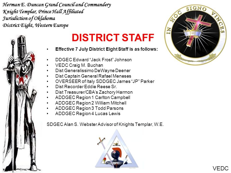 DISTRICT STAFF Herman E. Duncan Grand Council and Commandery