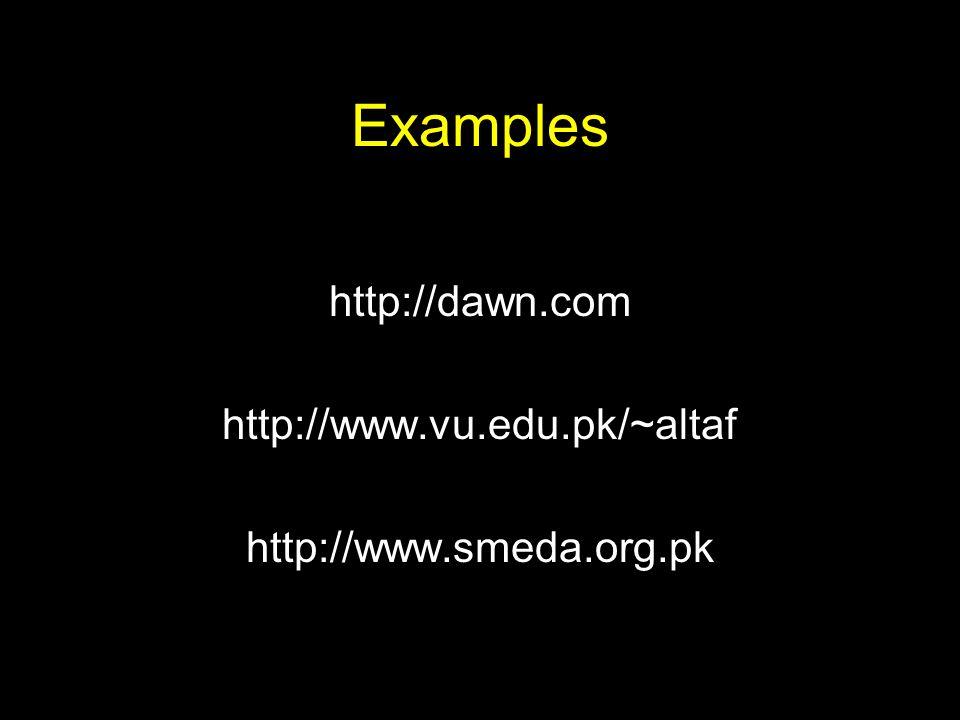 Examples http://dawn.com http://www.vu.edu.pk/~altaf