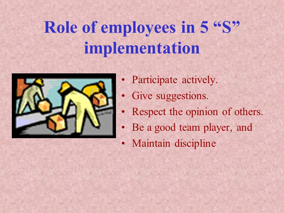 Role of employees in 5 S implementation
