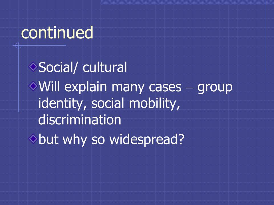 continued Social/ cultural