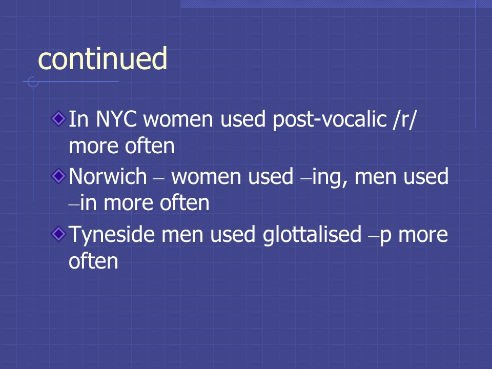 continued In NYC women used post-vocalic /r/ more often