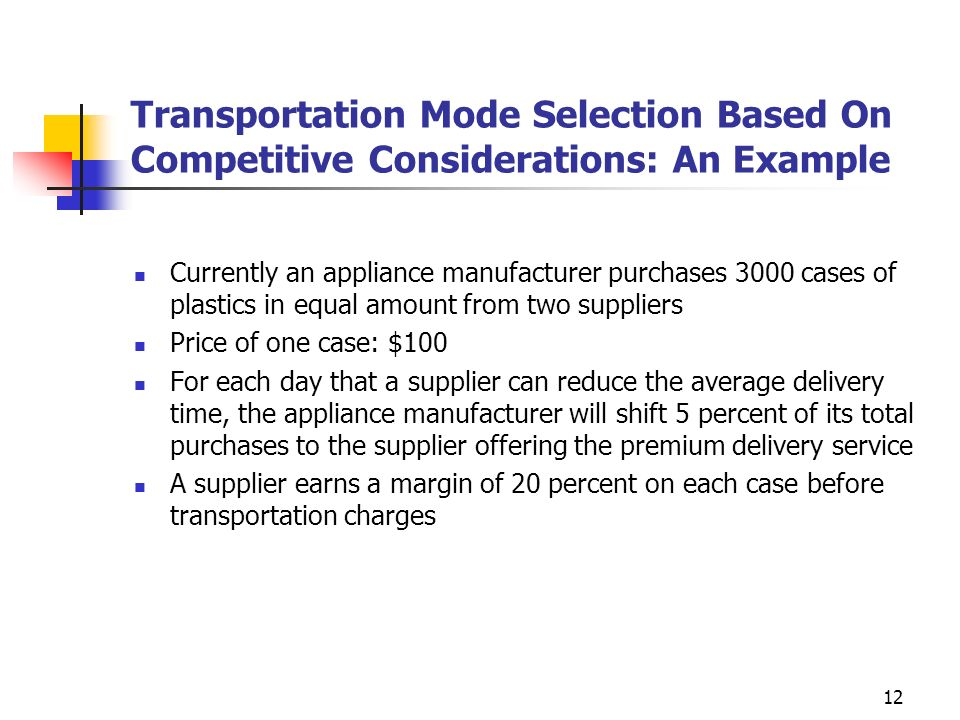 Transportation Mode Selection Based On Competitive Considerations: An Example