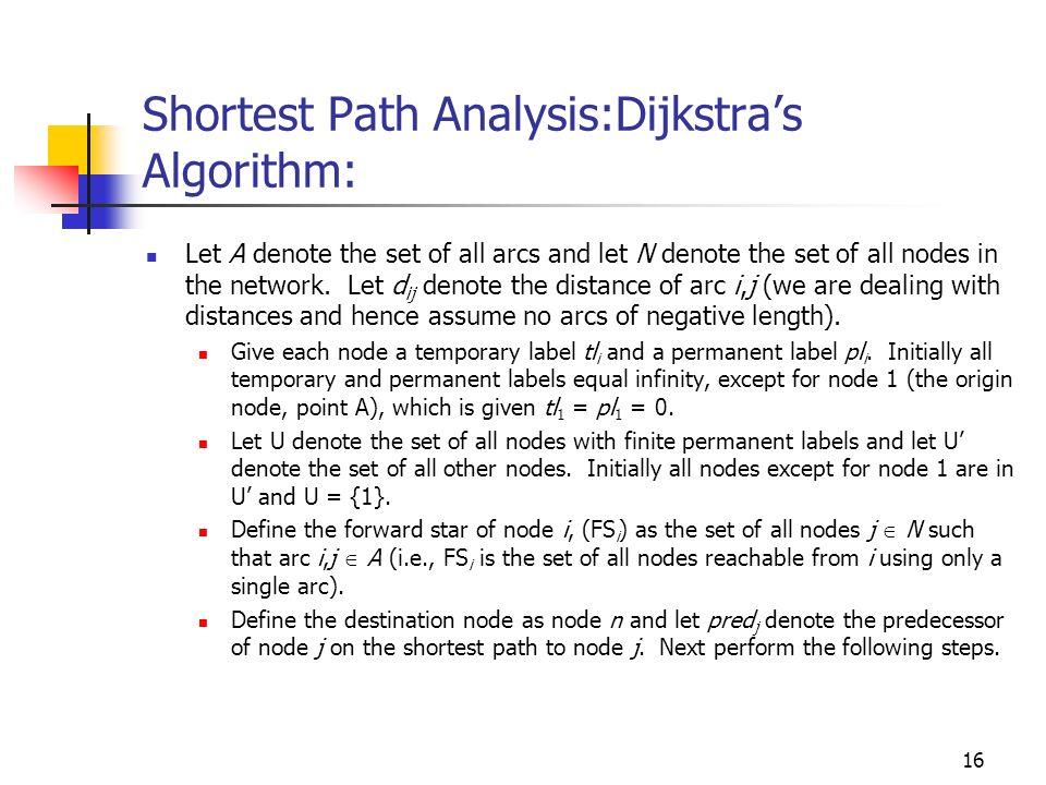 Shortest Path Analysis:Dijkstra's Algorithm: