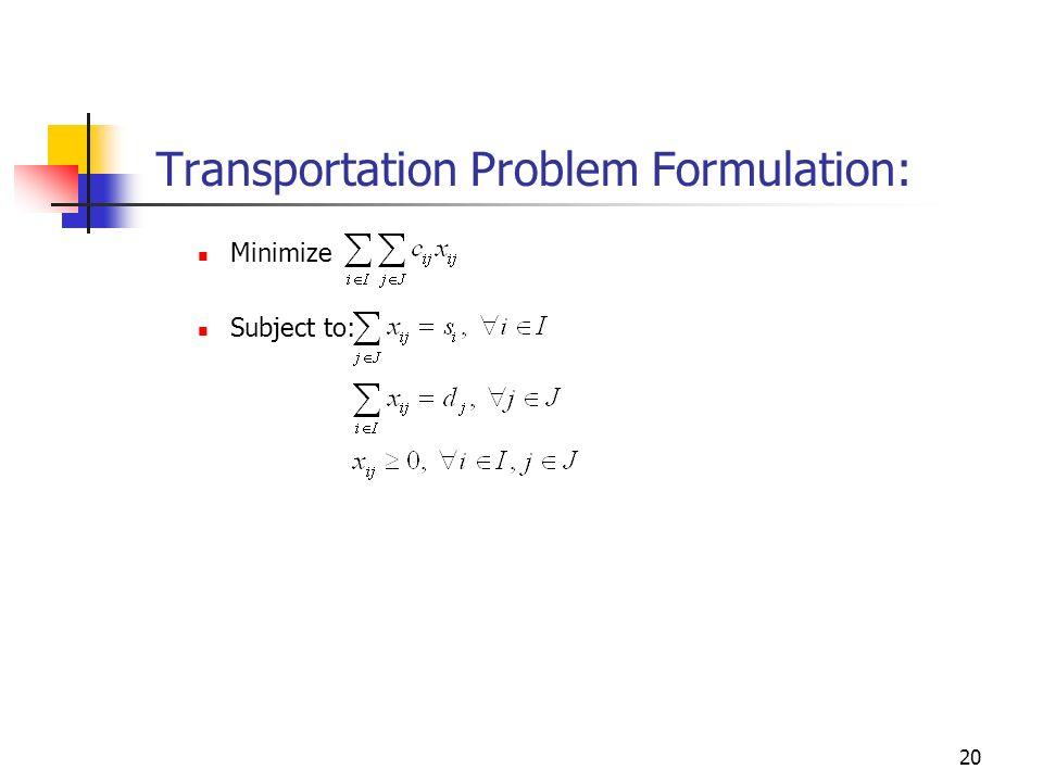 Transportation Problem Formulation: