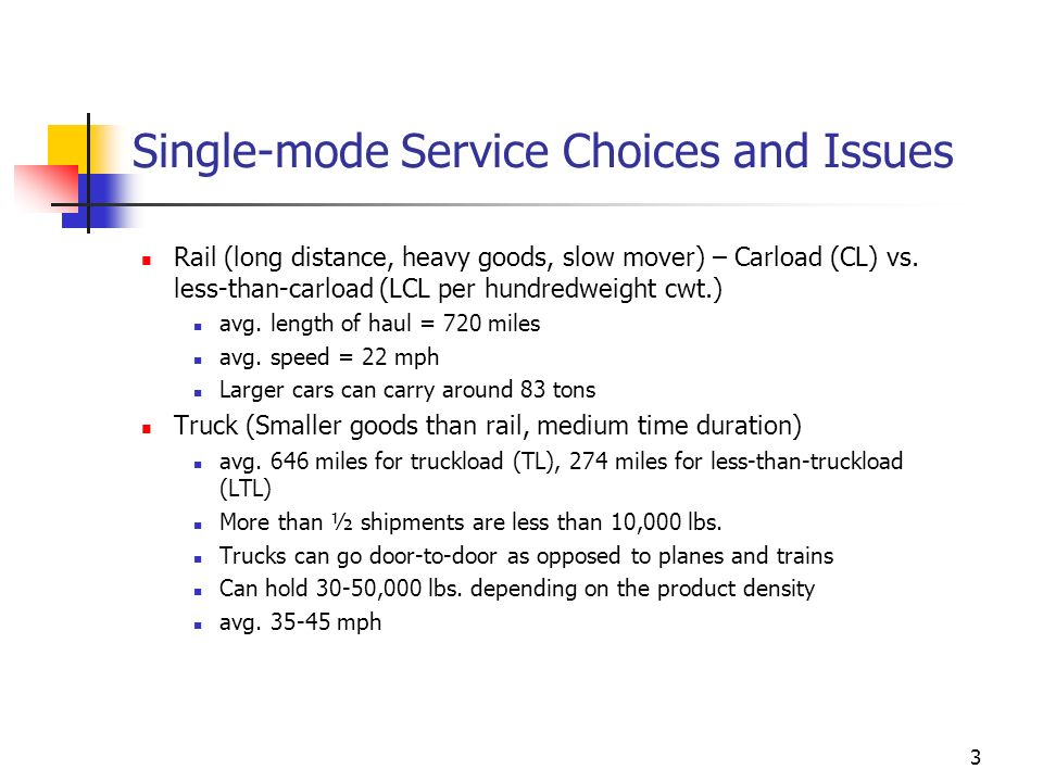 Single-mode Service Choices and Issues