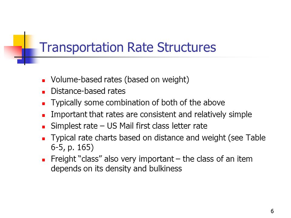 Transportation Rate Structures
