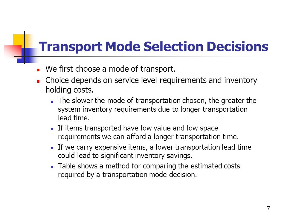 Transport Mode Selection Decisions