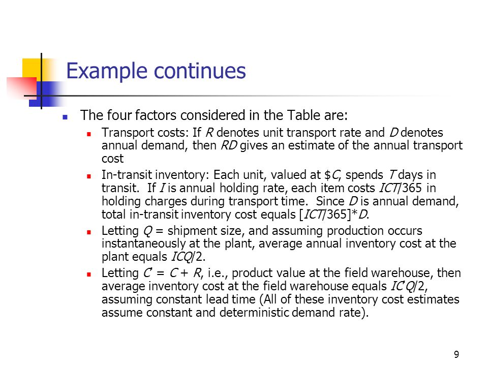 Example continues The four factors considered in the Table are:
