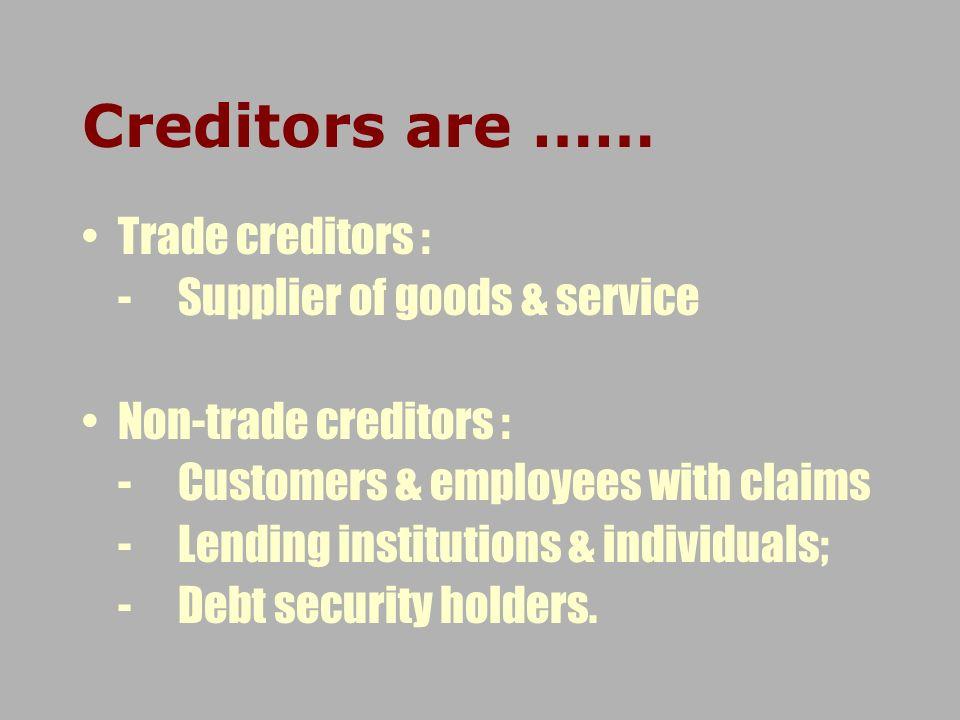 Creditors are …… Trade creditors : - Supplier of goods & service