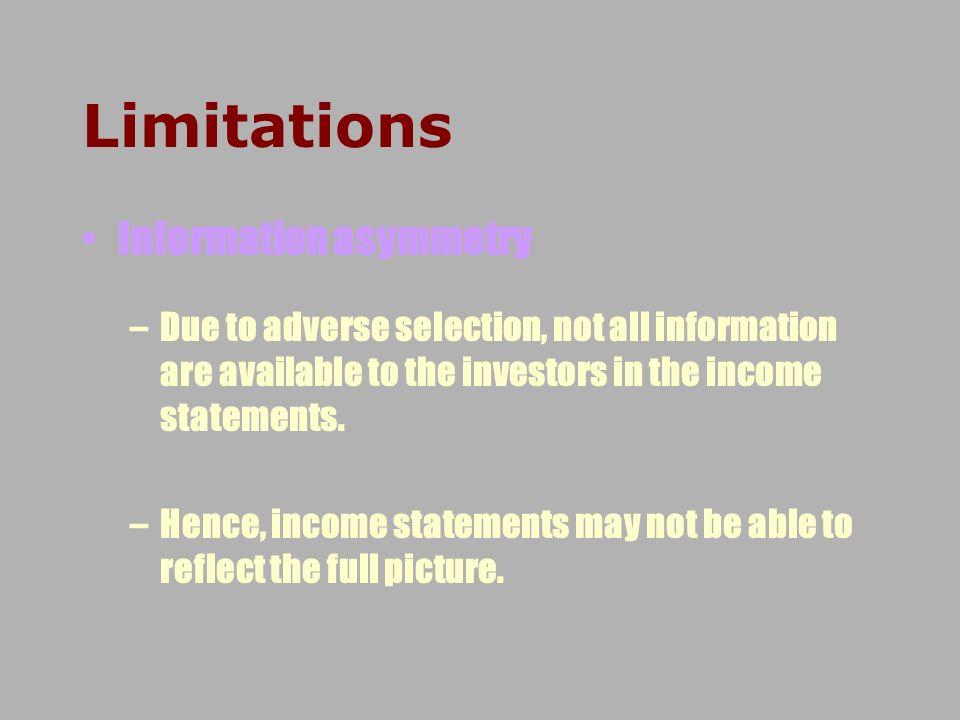 Limitations Information asymmetry