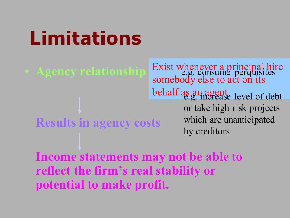 Limitations Agency relationship Results in agency costs