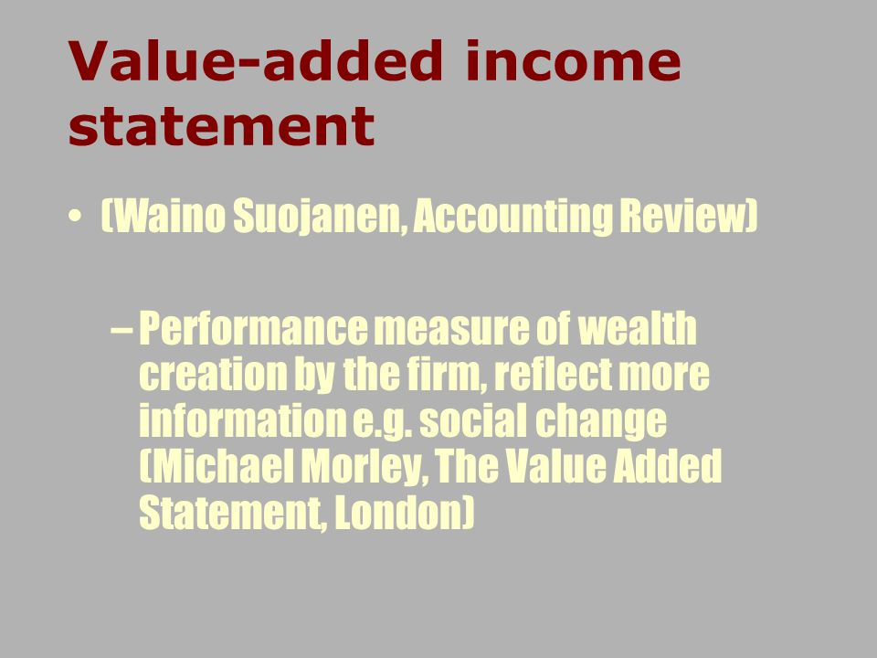 Value-added income statement