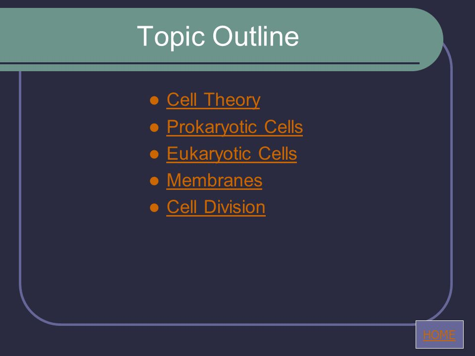 Topic Outline Cell Theory Prokaryotic Cells Eukaryotic Cells Membranes