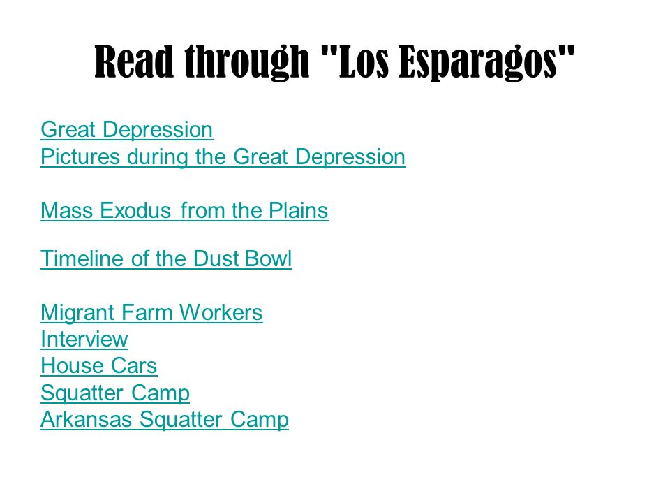 Read through Los Esparagos