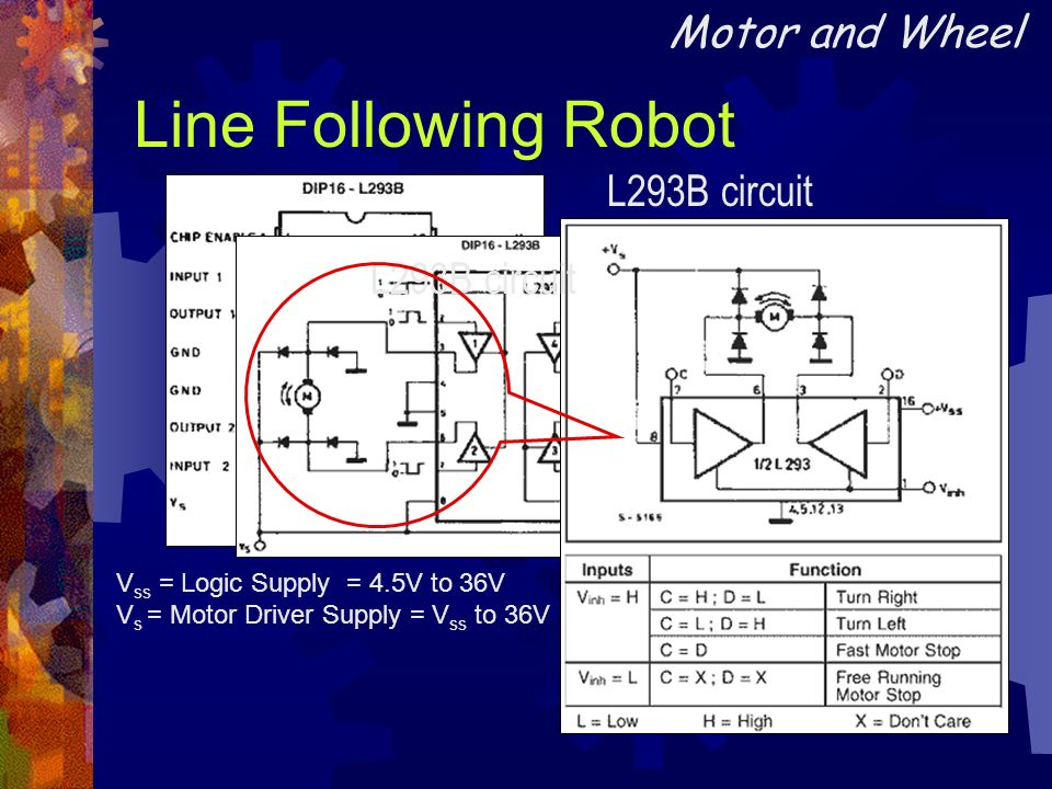 Line Following Robot Motor and Wheel L293B circuit L293B circuit