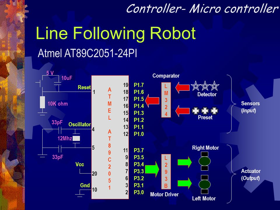 Line Following Robot Controller- Micro controller Atmel AT89C PI