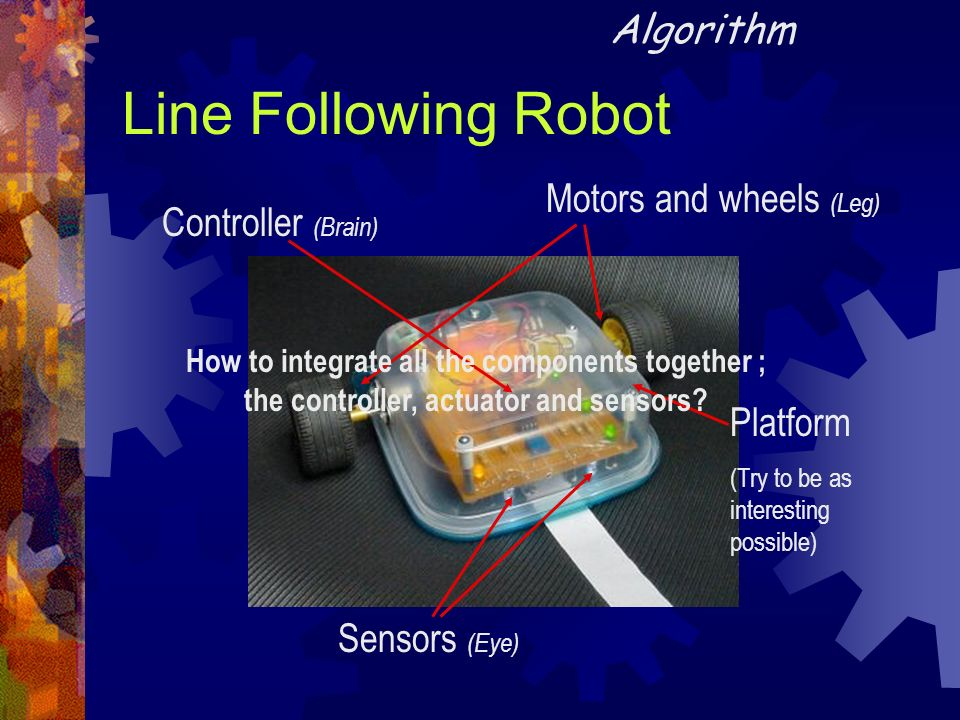 Line Following Robot Algorithm Motors and wheels (Leg)