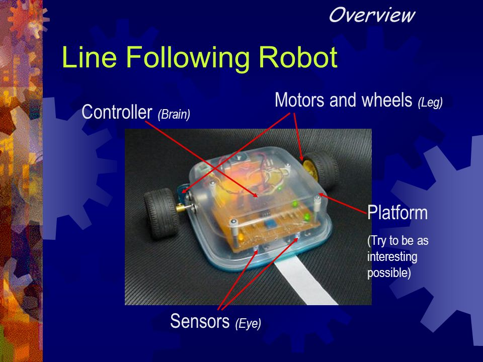 Line Following Robot Overview Motors and wheels (Leg)