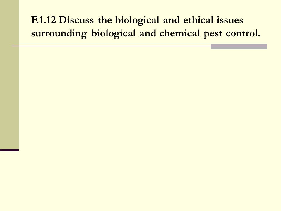 F.1.12 Discuss the biological and ethical issues